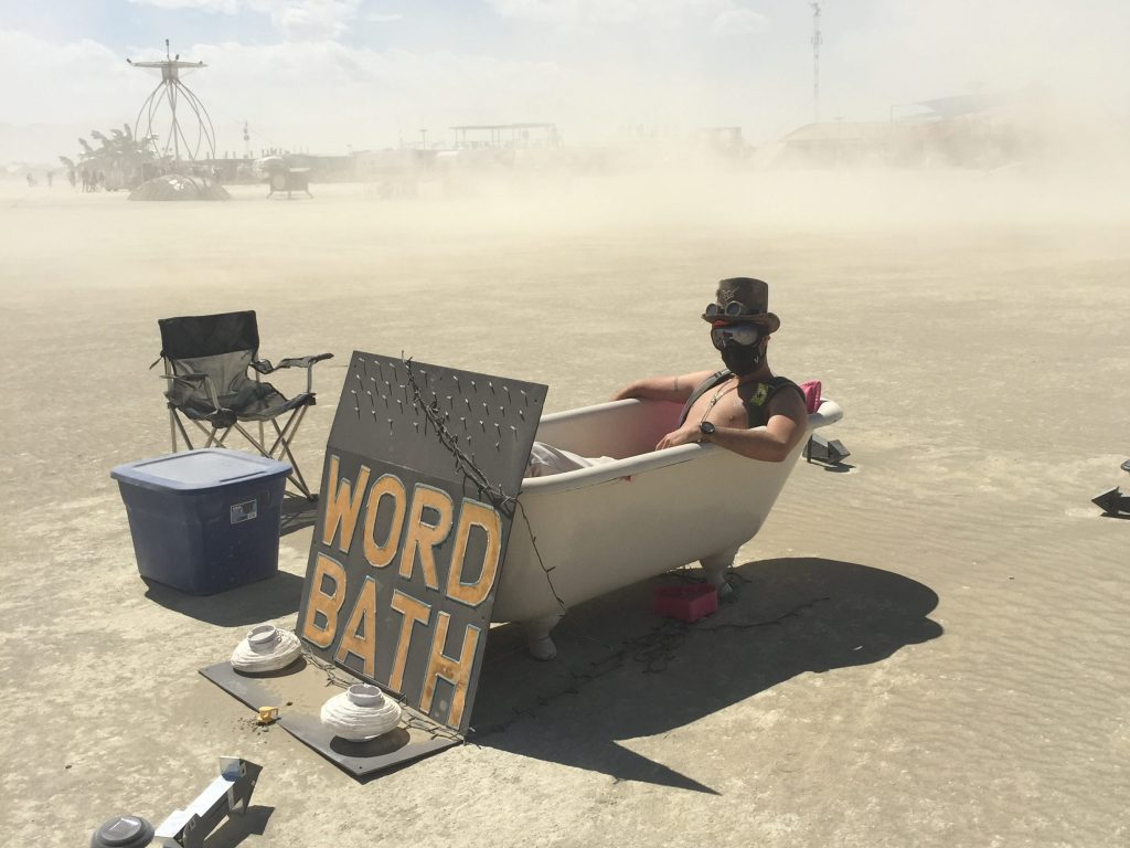 Word bath burning Man 2015