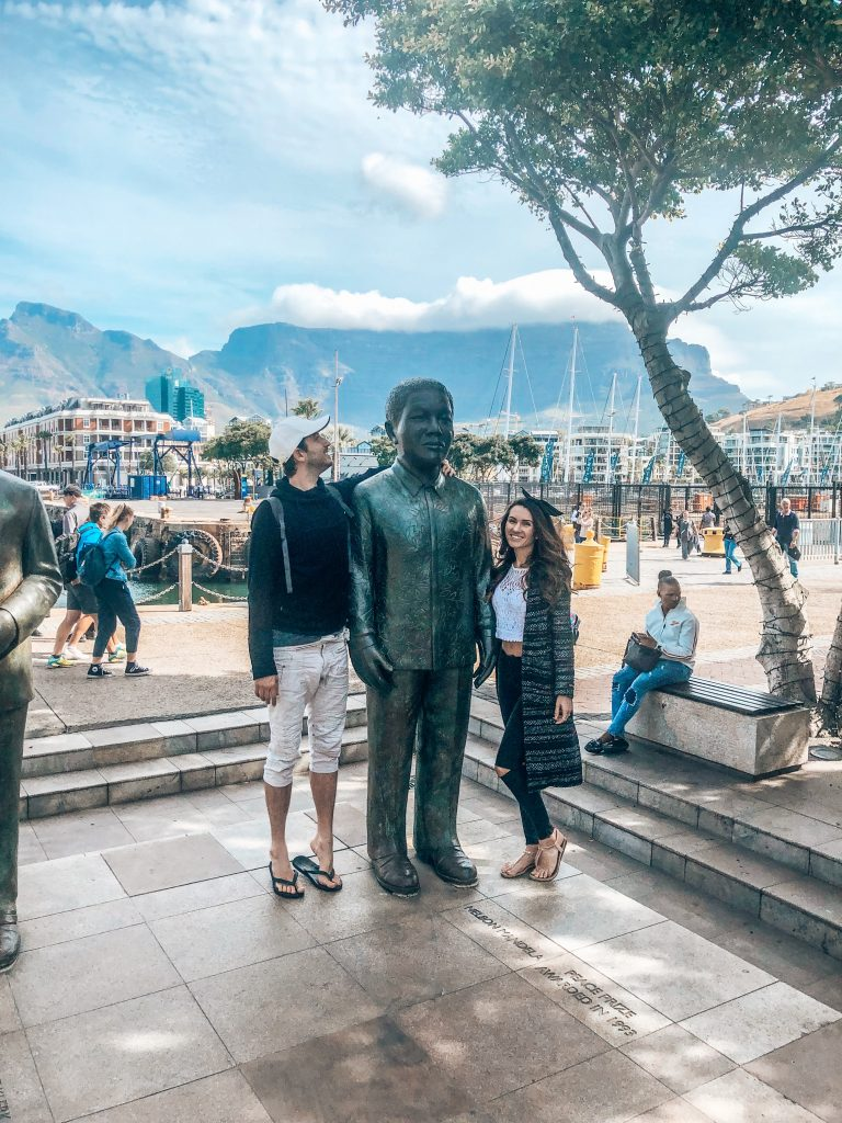 Hanging with Nelson Mandela at the Waterfront in Cape Town
