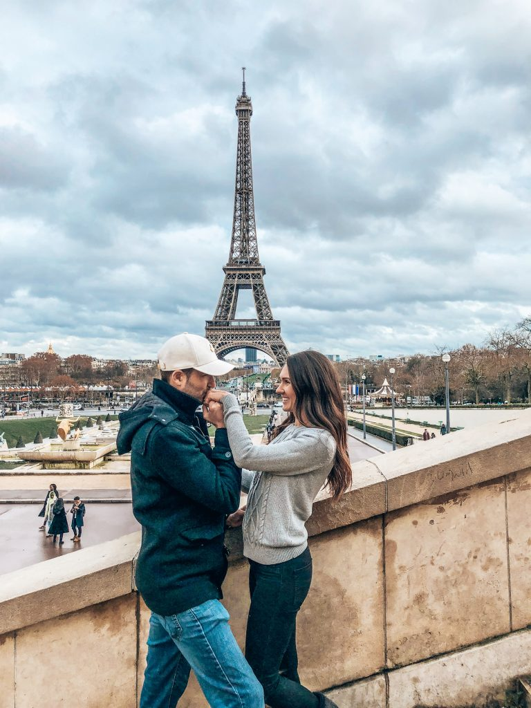 Eiffel Tower Paris Couple Hand Kiss