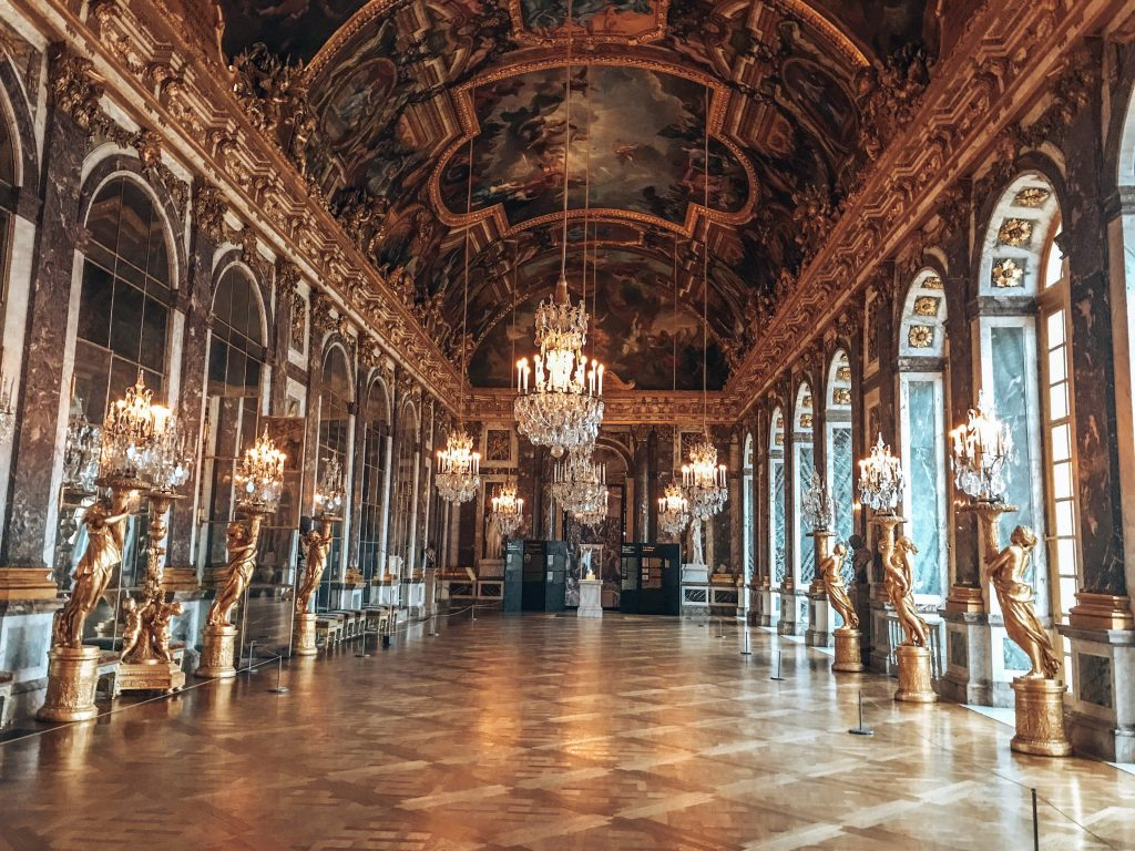 Empty Hall of Mirrors at the Palace of Versailles in Paris, France (getting up early pays off!)