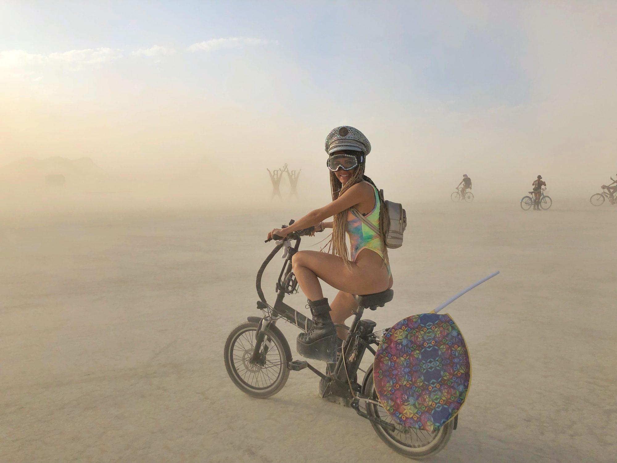 Biking around the playa at Burning Man